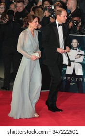 LONDON - OCT 26, 2015: Catherine Duchess of Cambridge and Prince William attend James Bond Spectre film premiere on Sep 26, 2015 in London