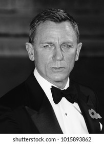 LONDON - OCT 26, 2015: ( Image digitally altered to monochrome ) Daniel Craig attends James Bond Spectre film premiere in London