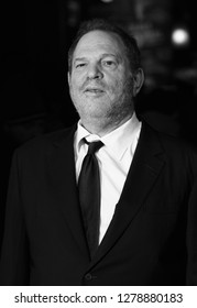 LONDON - OCT 28, 2015: ( Image digitally altered to monochrome ) Harvey Weinstein attends Burnt film premiere in London