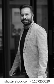 LONDON - OCT 28, 2017:  ( Image digitally altered to monochrome ) Alfie Boe singer seen arriving to the BBC radio two studios