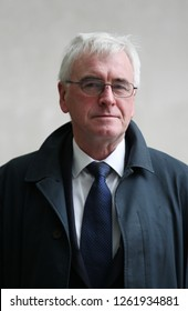 LONDON - OCT 28, 2018: Shadow Chancellor John McDonnell seen at the BBC studios in London