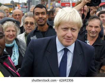 LONDON - OCTOBER 1: London Mayor Boris Johnson At The Reopening Of Gants Hill Roundabout October 1, 2010 In Gants Hill London, England.