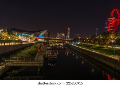LONDON - October 11th 2014: Night view of Queen Elizabeth Olympic Park - London's legacy after the Games which includes world class sporting venues, now open to the public in Stratford, London, UK