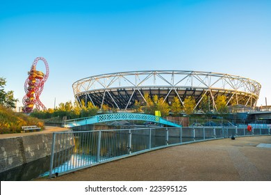 LONDON - October 11th 2014: View of the Olympic Stadium - the legacy of the Games it was closed for renovation in 2013.  Once re-opened in 2016, it will be a home of West Ham United Football Club