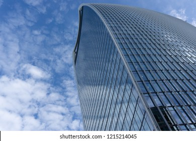 LONDON - OCTOBER 12, 2018: Walkie Talkie building on 20 Fenchurch Street, designed by Rafael Vinoly located in the Financial District of London, UK