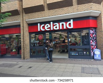 LONDON - OCTOBER 14TH: The exterior of an Iceland supermarket on October the 14th, 2017, in London, England, UK. Iceland is one of Britain's fastest-growing retailers.