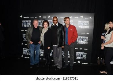 LONDON - OCTOBER 19: Actors William Shatner , Kate Mulgrew,  Avery Brooks,  Scott Bakula Attends Destination Star Trek England's Largest Ever Star Trek Convention October 19, 2012 in London, England.