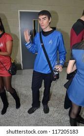 LONDON - OCTOBER 20: Fans In Costume Attend Destination Star Trek England's Largest Ever Star Trek Convention October 20, 2012 in Excel Centre London, England.