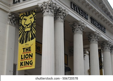 London, October 2016 - Signage for the Disney's Lion King Musical is displayed outside the Lyceum Theatre in London