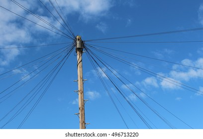 London, October 2016. A telegraph pole used by British Telecom (BT) to supply voice, broadband and fibre broadband services to residential properties in South West London