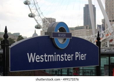 London, October 2016 The Transport for London River services roundel is displayed on Westminster Pier on the banks of the River Thames