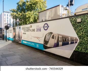 London, October 2017. Construction hoarding at the new Bond street, Elizabeth line station, located in Hanover Square.