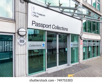 London, October 2017. An exterior view of the Passport collections office based in Globe House in Victoria.
