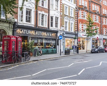 LONDON- OCTOBER, 2017: A row of high street shops and restaurants in Marylebone Village, London.