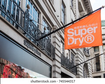 London, October 2017. A sign and flag outside the Superdry store on Regent Street. Superdry is a British branded clothing company combining American styling with japenese inspired graphics.