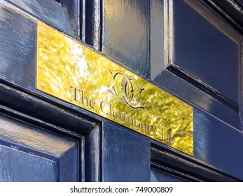 London, October 2017. A sign on the door of the private members Clermont Club, in Berkeley Square, Mayfair.