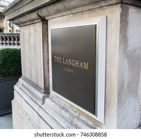 London, October 2017. A sign outside the Langham hotel on Portland Place.