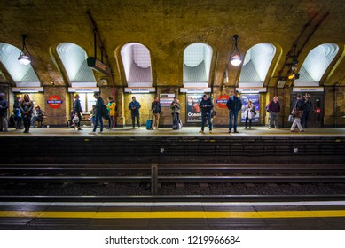 LONDON- OCTOBER, 2018: Baker Street Station interior. Platform of first ever underground tunnel on the Metropolitan Line