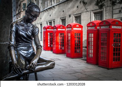 LONDON- OCTOBER, 2018: Ballerina Statue outside the Royal Opera House in the Covent Garden area of London's West End