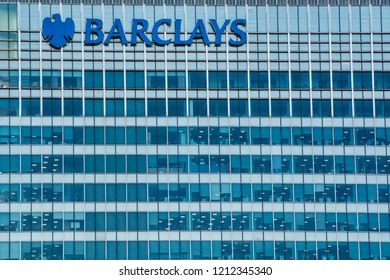 LONDON- OCTOBER, 2018: Barclays building in Canary Wharf- headquarters on multinational investment bank and financial services company