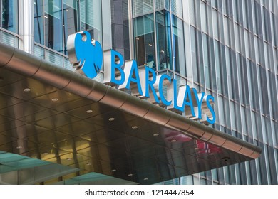 LONDON- OCTOBER, 2018: Barclays HQ building in Canary Wharf-  multinational investment bank and financial services company
