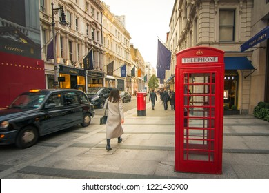 LONDON- OCTOBER, 2018: Bond Street, Mayfair. A world famous luxury shopping destination for art, jewellery and high end fashion