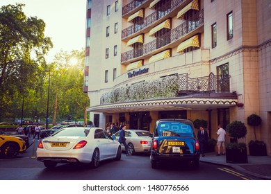 LONDON- OCTOBER, 2018: The Dorchester Hotel, a famous 5 star luxury hotel on Park Lane in Mayfair