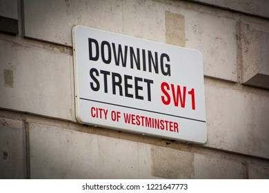 LONDON- OCTOBER, 2018: Downing Street sign in Whitehall, City Of Westminster. The official residence of the British Prime Minister