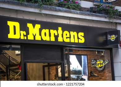 LONDON- OCTOBER, 2018: Dr Martens store exterior on Oxford Street, London. An iconic German footwear brand
