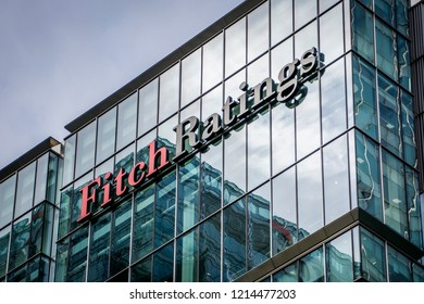 LONDON- OCTOBER, 2018: Fitch Ratings exterior logo in Canary Wharf, one of the 'big three' credit ratings agencies.