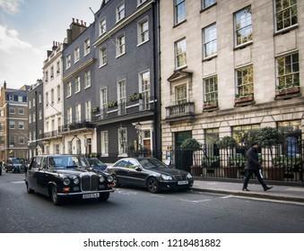 LONDON- OCTOBER, 2018: Georgian properties on Berkeley Square, an upmarket area in Mayfair, Westminster