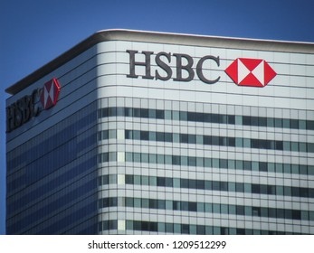 LONDON- OCTOBER, 2018:  HSBC building in Canary Wharf financial centre. Headquarters of one of the largest financial services and banking organisation in the world