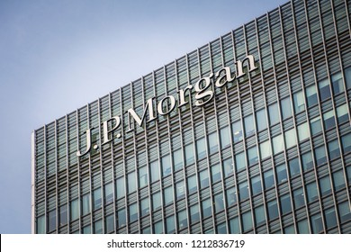 LONDON- OCTOBER, 2018: The JP Morgan building in London's Canary Wharf financial district. An American investment bank and financial services company.