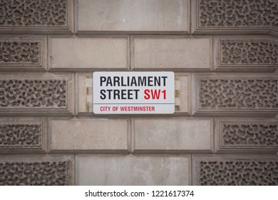 LONDON- OCTOBER, 2018: Parliament Street SW1 street sign, City Of Westminster. A famous street and location of many British government buildings