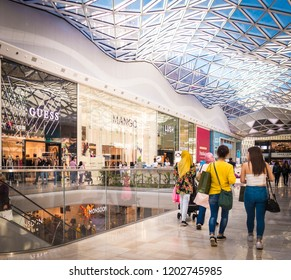 LONDON- OCTOBER, 2018: Shoppers inside Westfield Shepherds Bush- a large indoor shopping centre in west London.