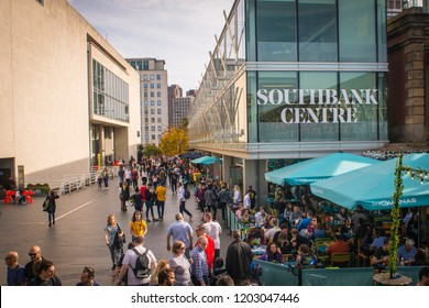 LONDON- OCTOBER, 2018: South Bank Centre, a multi venue cultural hub hosting music , live performance, bars and restaurants.