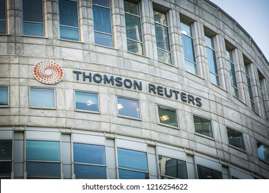 LONDON- OCTOBER, 2018:  Thomson Reuters Building, in Canary Wharf, London.