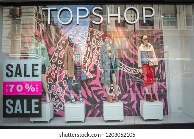 LONDON- OCTOBER, 2018: Topshop exterior display window, a British multinational fashion retailer