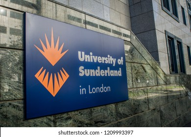 LONDON- OCTOBER, 2018: University of Sunderland in London- University campus in Canary Wharf, London's financial services and banking centre