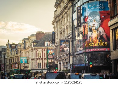 LONDON- OCTOBER, 2018: View of busy London west end theatre street.