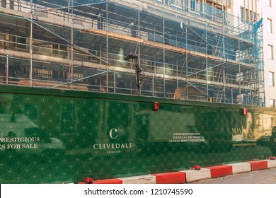 London October 2018. A view of construction hoarding for mayfair residences near park lane in London