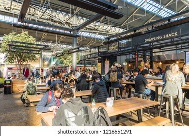 London. October 2018. A view of a food market in Spitalfields market in London