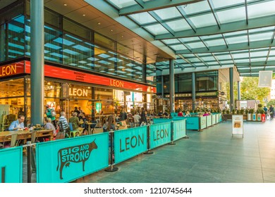 London October 2018. A view of a Leon restaurant in Spitalfields market in London