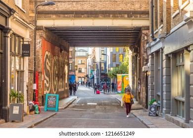 London. October 2018. A view of Rivington street in shoreditch in london