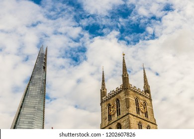 London October 2018. A view of the shard and Southwark cathedral in London