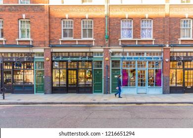 London. October 2018. A view of shops ouside Spitalfields market in London