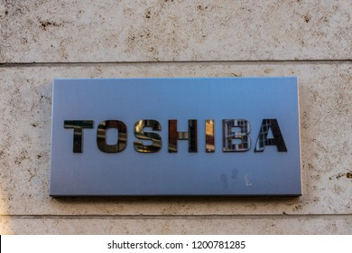 London. October 2018. A view of a sign outside the Toshiba office in London