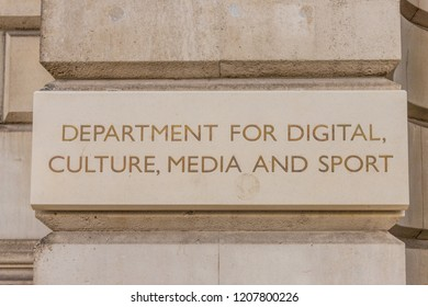 London October 2018. A view of a sign for Digital culture, media and sport outside its office in London