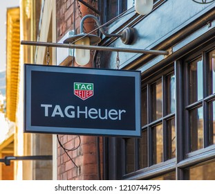 London October 2018. A view of signage outside the tag Heuer store Spitalfields market in London