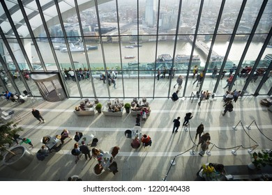 LONDON - OCTOBER 2018. View from the Sky Garden, on top of the skyscraper at Darwin Brasserie at 20 Fenchurch Street also know as Walkie Talkie, designed by Rafael Vinoly, located in London, UK